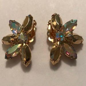 VTG 1950's Aurora Borealis Clip On Earrings Gold